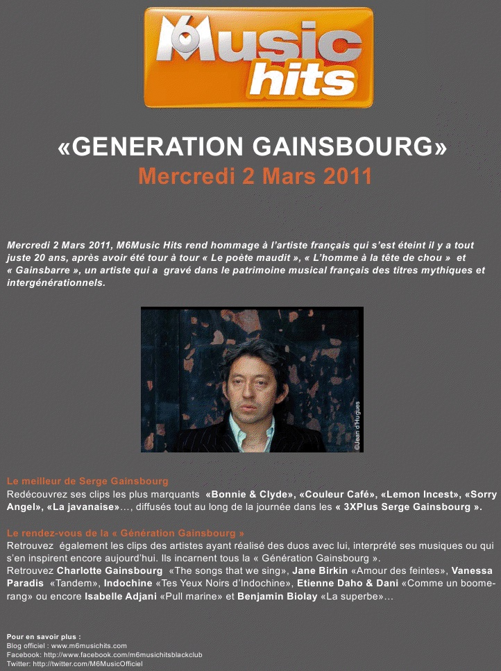 Serge gainsbourg hommage m6 music